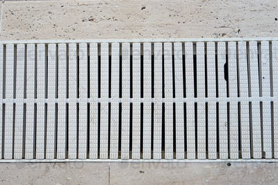 grating decorate with pool for filter and treatment water