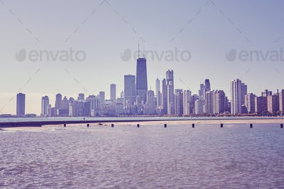 Retro toned photo of Chicago city downtown skyline, USA