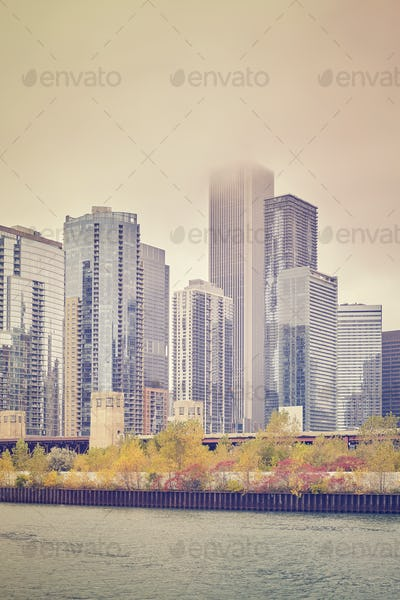 Retro color stylized skyscrapers in Chicago downtown.