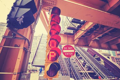 Color toned traffic lights under a movable bridge in Chicago