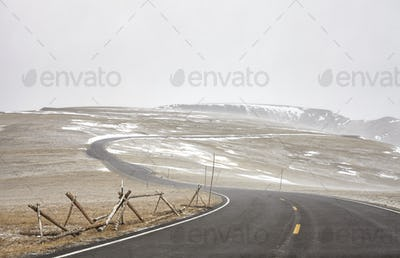 Trail Ridge Road during a blizzard in Rocky Mountains National P