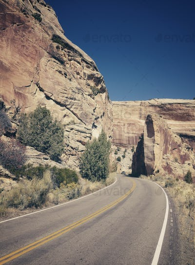 Retro stylized scenic road, travel concept background, Colorado,