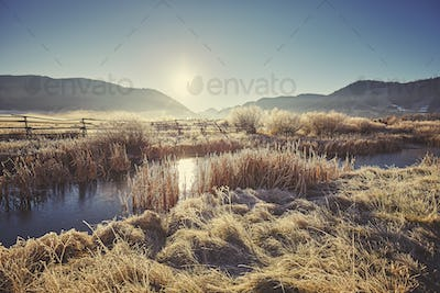 Retro toned foggy and frosty morning over lake in Grand Teton Na