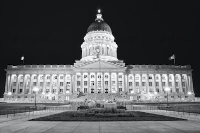 Black and white picture of Utah State Capitol, Salt Lake City at