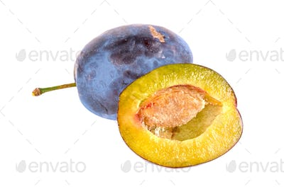 Fresh plums on white background