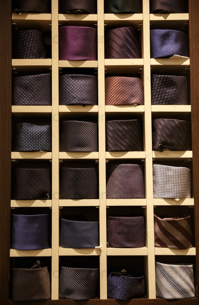 Large selection of ties in men's clothing store