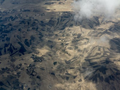 Aerial view of farms in Ethiopia