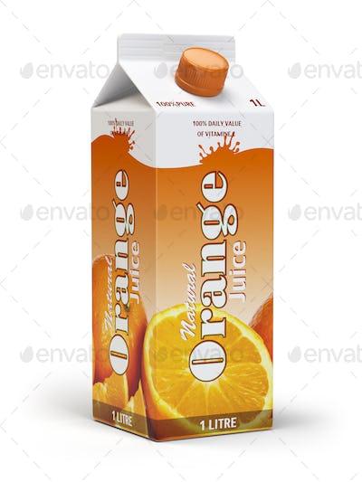 Orange juice carton cardboard box pack isolated on white backgro