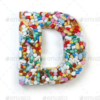 Letter D. Set of alphabet of medicine pills, capsules, tablets a