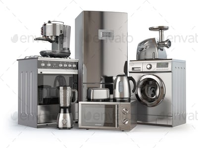 Home appliances. Gas cooker, refrigerator,  microwave and  washi