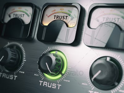Trust concept. Trust switch knob on maximum position.