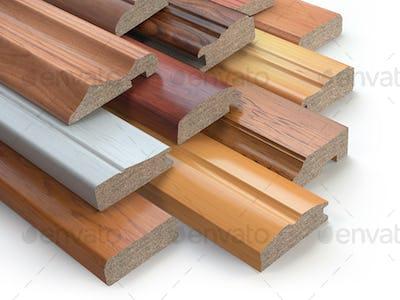 Samples of wooden furniture MDF profiles, Different medium densi
