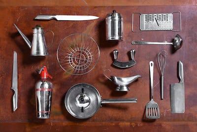 Collection of various metal kitchen utensils