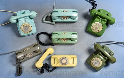 Collection of old vintage rotary telephones