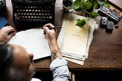 Man Using Retro Typewriter Machine Work Writer