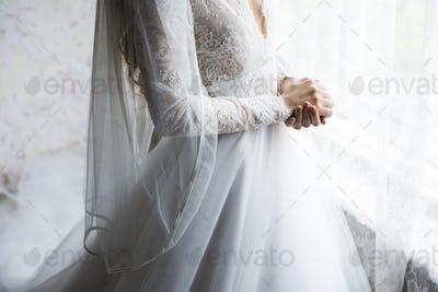 Attractive Beautiful Bride in a Wedding White Dress