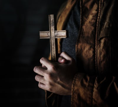 Adult Woman Hands Holding Cross Praying for God Religion