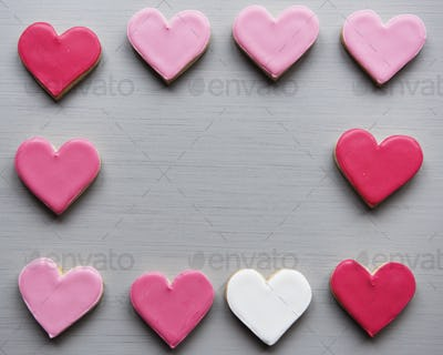 Colorful Cookie Hearts Shape Decorative Love Smitten Valentine D