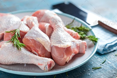 Raw chicken legs, cooking meat