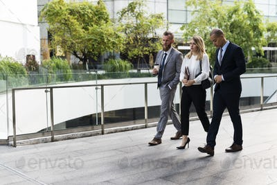 Businesspeople Men Women Walk Colleague