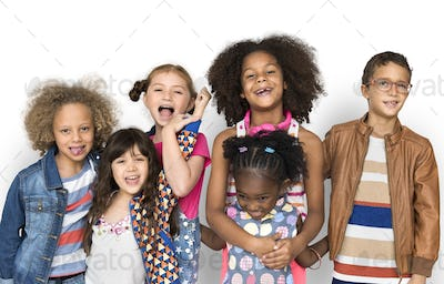 Group of diverse kids having fun together