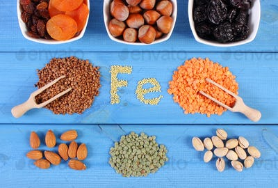 Ingredients and products containing ferrum and dietary fiber, healthy food