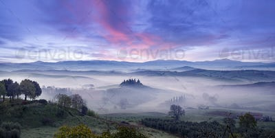 misty morning in tuscan valley