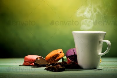 Coffee with macarons