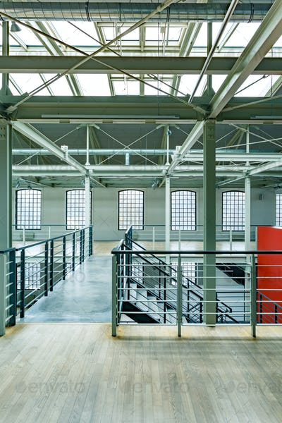 Empty warehouse with glass roof