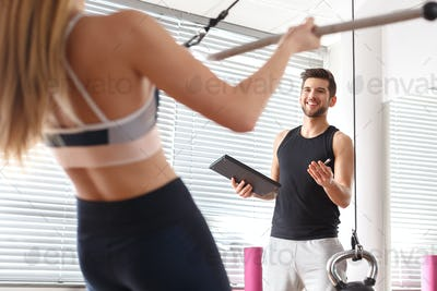 Woman working at gym