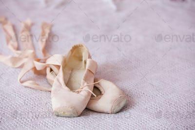 Small ballet shoes isolated