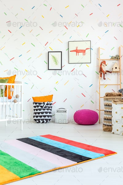 White room and colorful additions