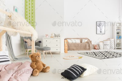 Spacious child room with bed