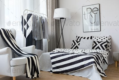 Black and white accents in bedroom