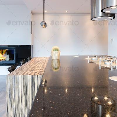 Minimalist kitchen with large countertop