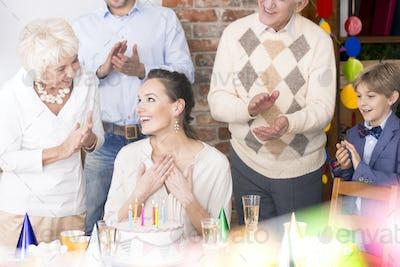 Happy woman celebrating birthday