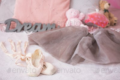 Ballet shoes of young dancer