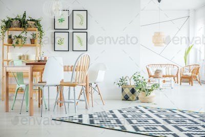Botanic dining room with table