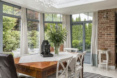 Dining area surrounded by windows