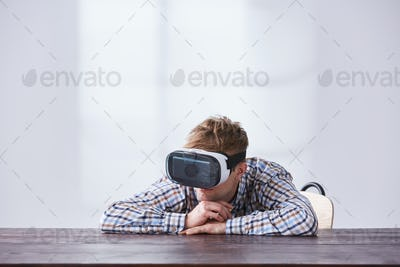 Young man with vr glasses