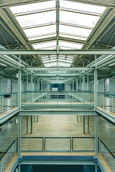 Industrial interior with glass roof