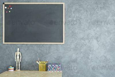 Room with mockup blackboard
