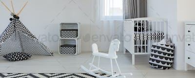 White and black room