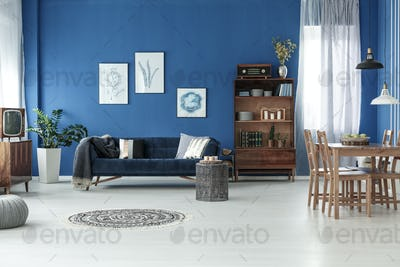 Room with blue wall