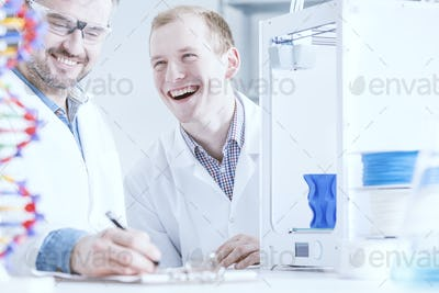 Smiled scientists at work