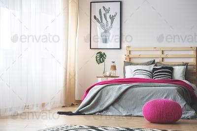 Bedroom with pink accessories