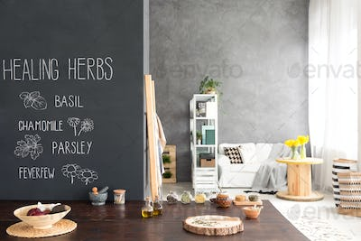 Table with herbs