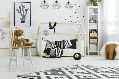 Child bedroom with house bed