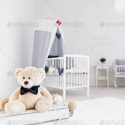Spacious baby room with teddy bear