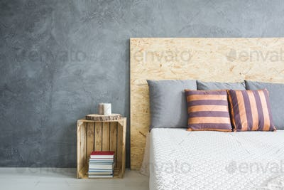 Wooden headboard of the bed